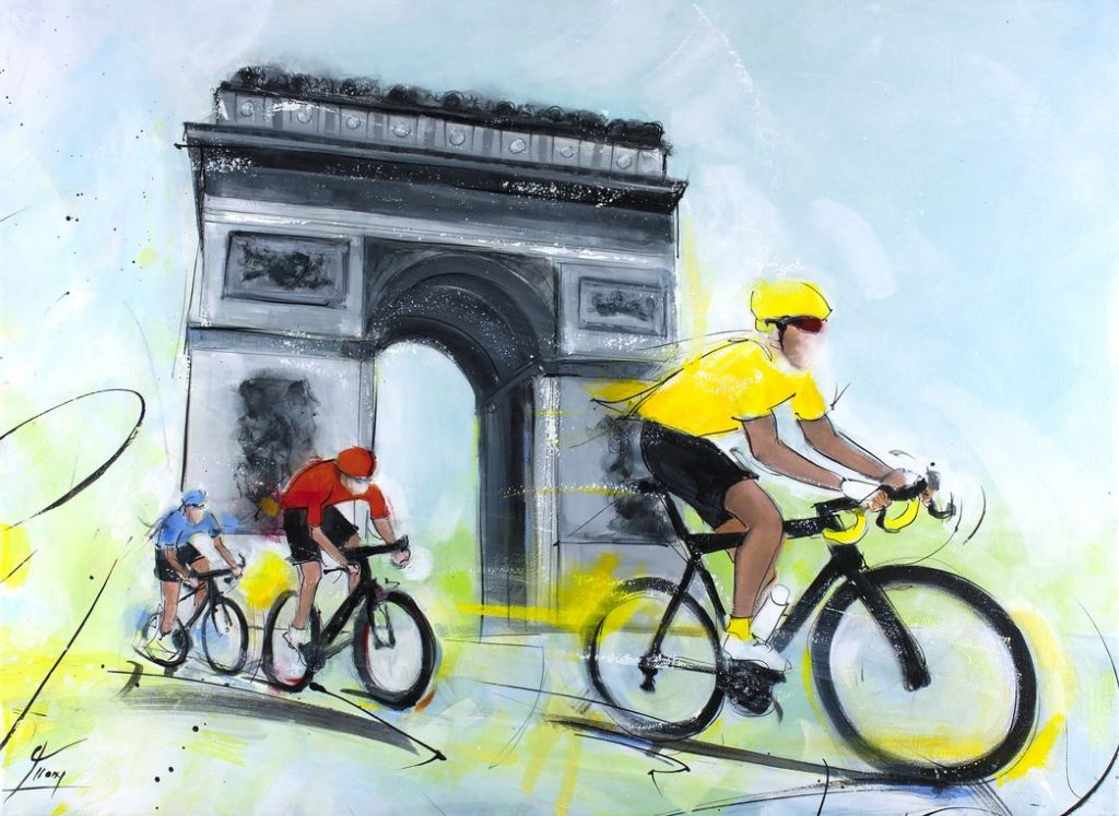 Art peinture du sport - Cyclisme - Tour de France - L'arrivée du maillot jaune sur les Champs-Elysées