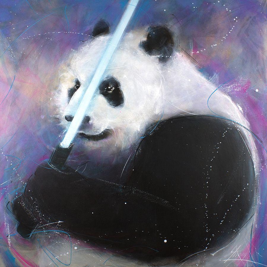 Peinture panda POPART Starwars : oeuvre d'art animalière inspirée de la saga starwars - le pandawan - par Lucie LLONG, artiste peintre du mouvement