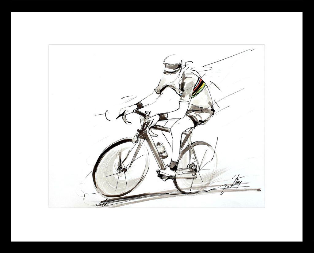 art peinture sport cyclisme : peinture à l'encre deLaurent Brochard, champion de monde de cyclisme en 1997