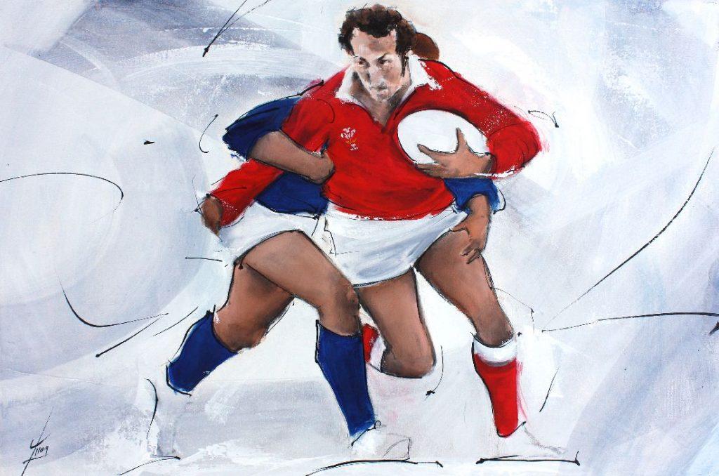 Art sport peinture rugby : match de rugby entre le pays de Galles de Gareth Edwards contre l'écosse à Murrayfield lors du tournoi des 6 nations