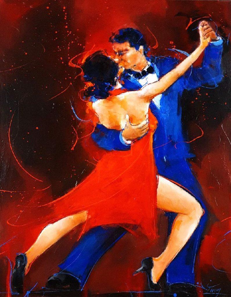 art painting dance tango : artwork by Lucie LLONG, artist of movement