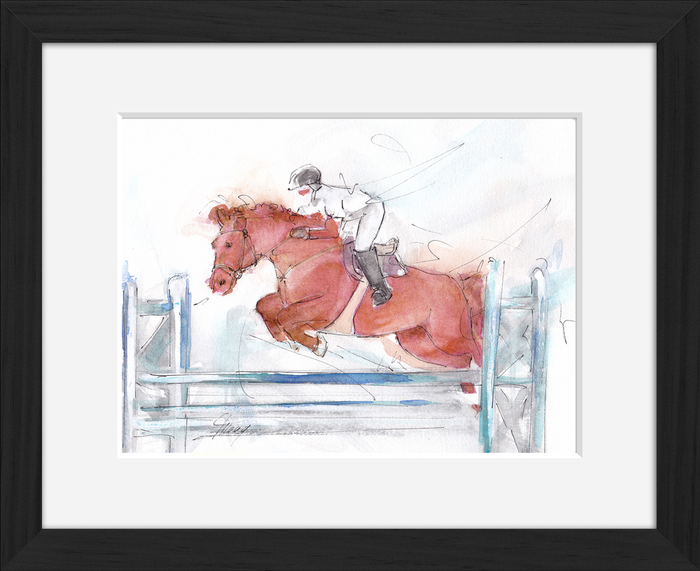 Équitation : peinture à l'aquarelle encadrée d'un concours de CSO