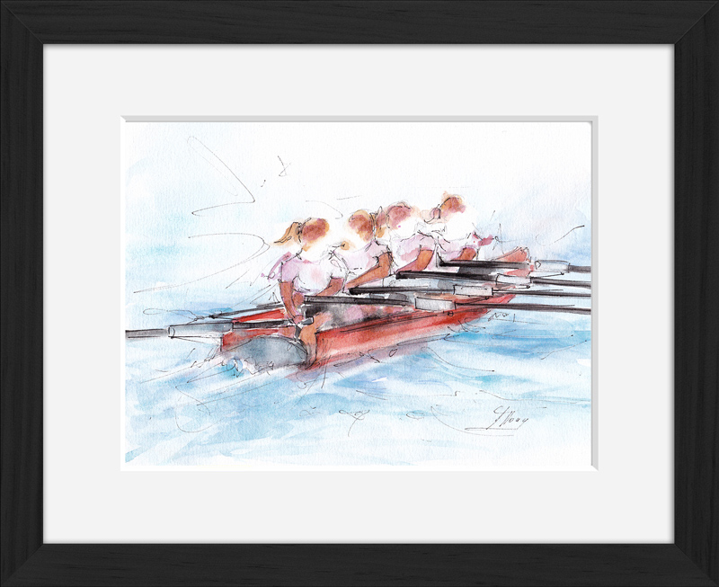 sport Watercolor | Sport Painting | Women's Rowing