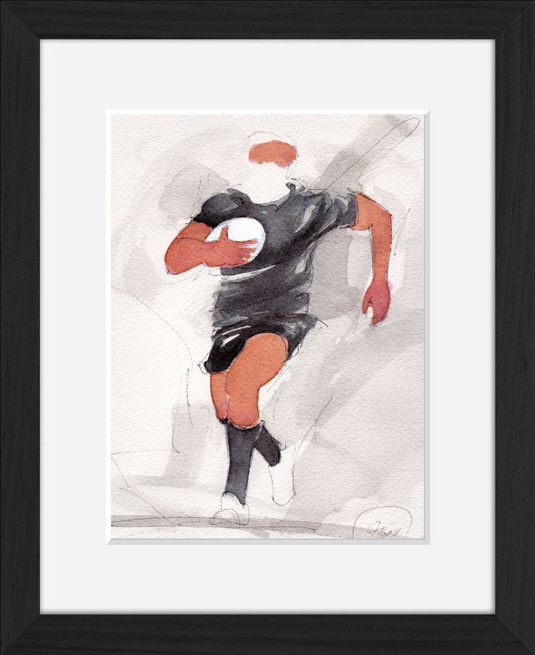 Peinture à l'aquarelle des all Blacks - sport - aquarelle encadrée d'un match de rugby