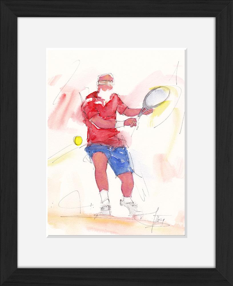 Tennis : peinture à l'aquarelle encadrée de tennis