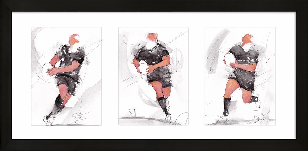 Rugby ; peinture à l'aquarelle encadrée des all blacks- triptyque