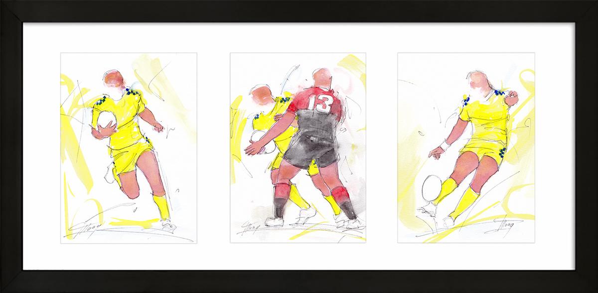 Rugby ; peinture à l'aquarelle encadrée de l'ASM et du stade toulousain- triptyque