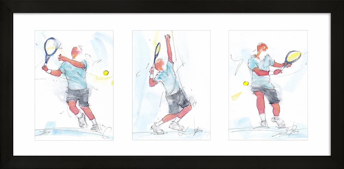 Tennis : peinture à l'aquarelle encadrée de tennis - triptyque
