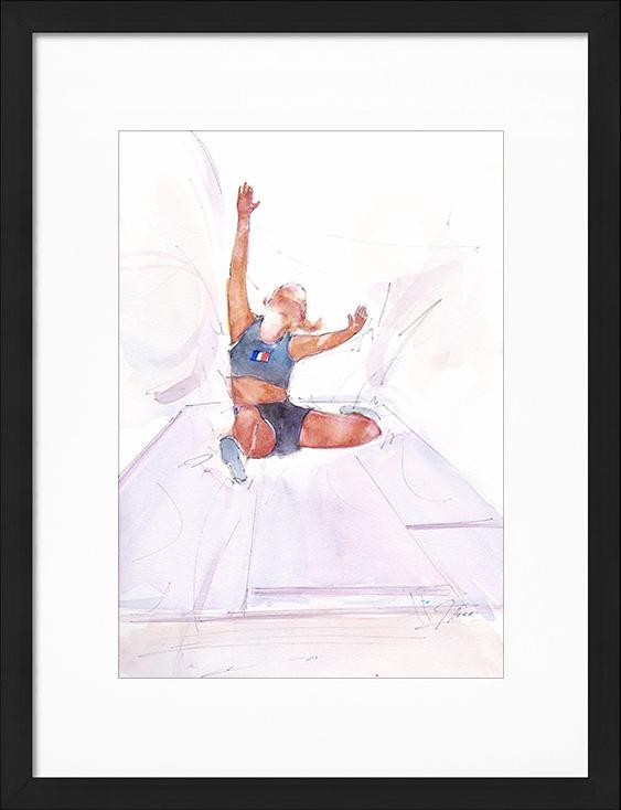 Aquarelle sport | Peinture de sport | Athlétisme féminin | Saut en longueur