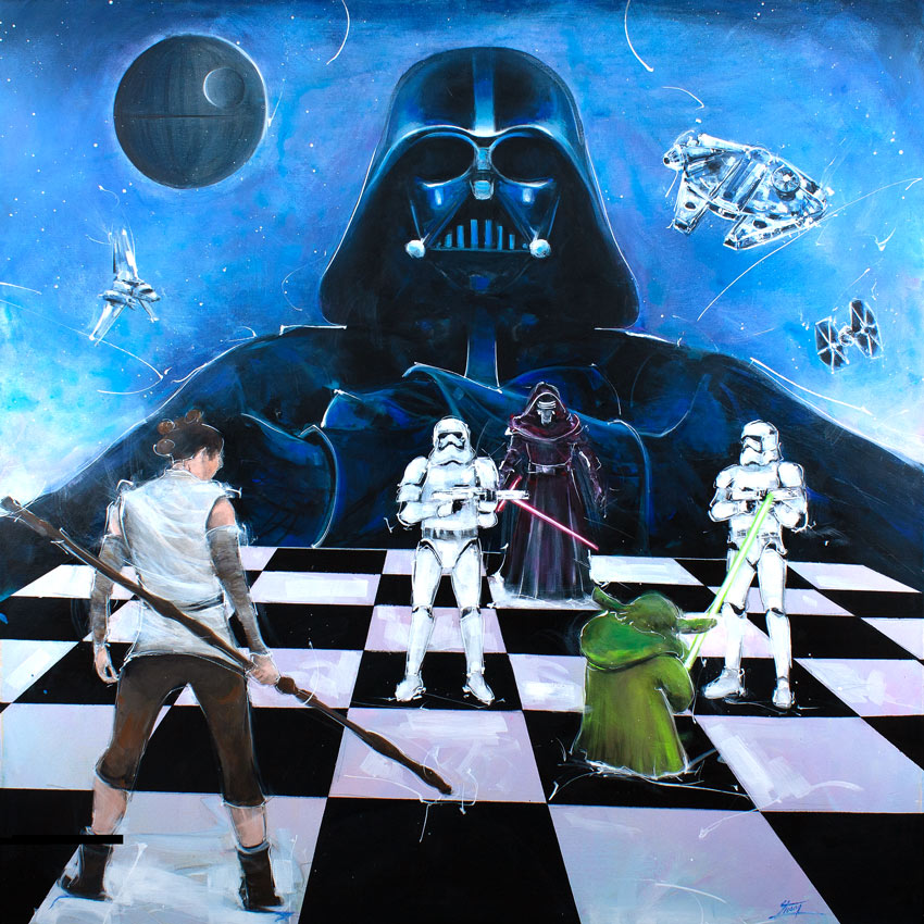 Star wars Dark Vador vs yoda : painting by Lucie LLONG - inspiration star wars