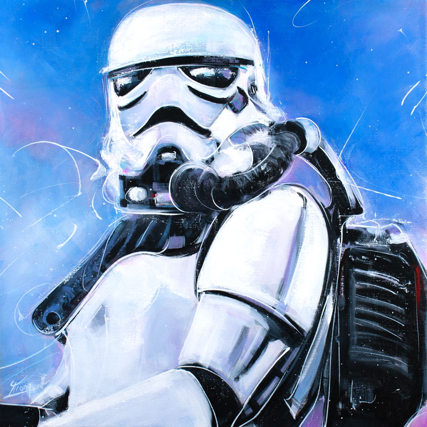 Star wars stromtrooper : painting by Lucie LLONG, artist of movement -Starwars inspiration