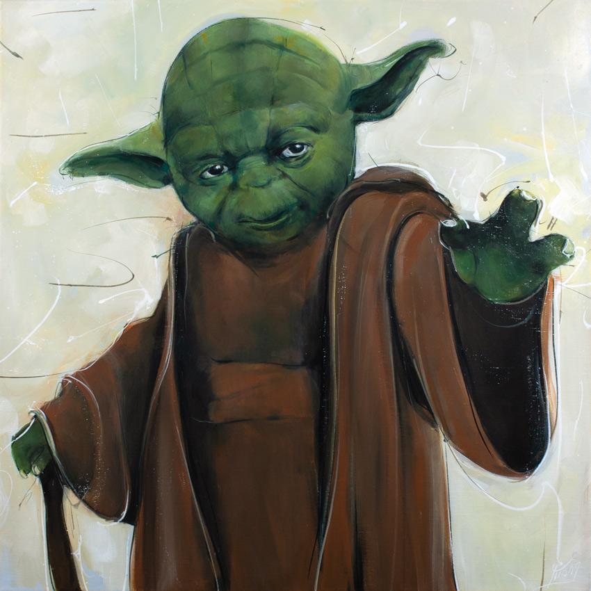 Peinture Starwars : le maître Jedi Yoda en peinture par Lucie LLONG, artiste peintre - Série POP ART