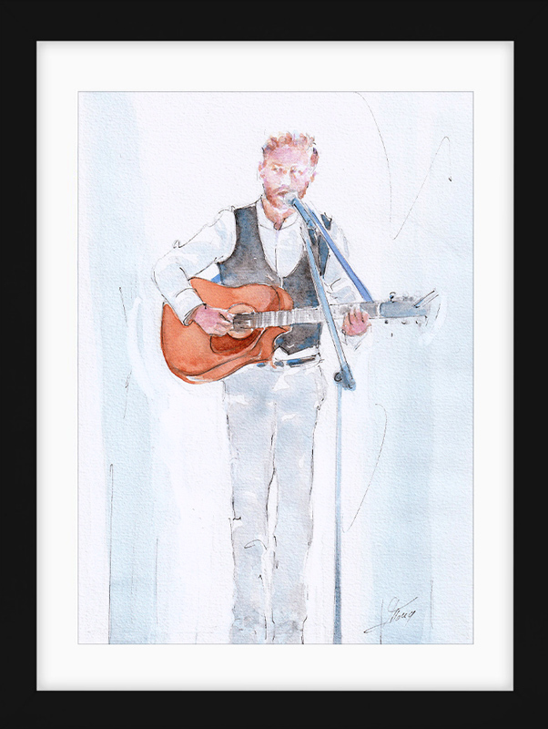 Watercolor living moment | Music Painting | Musician playing guitar | Country Music