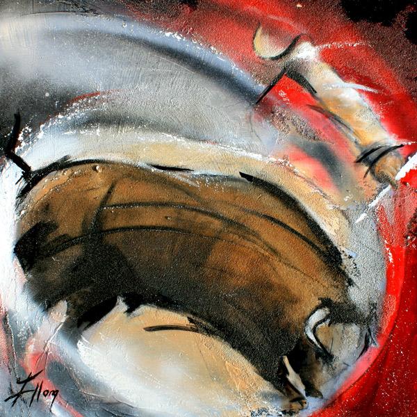 Art | peinture sur toile | tauromachie | Corrida | Torero et taureau dans les arènes - Lucie LLONG