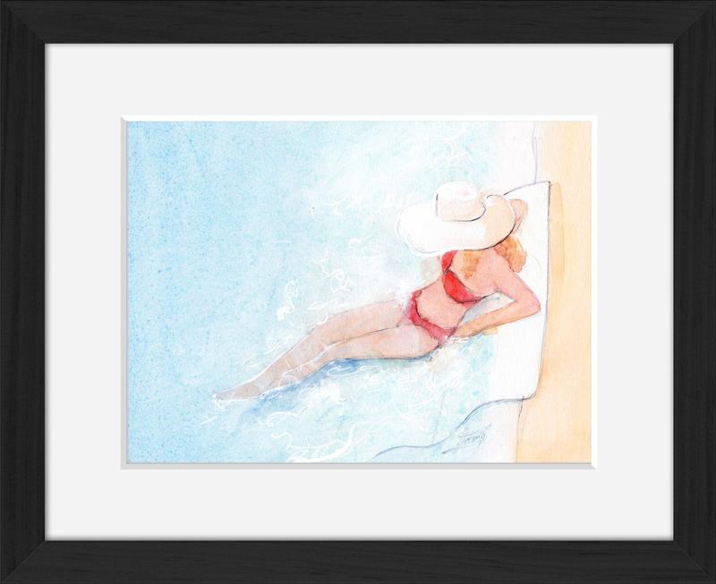Aquarelle scène de vie | Peinture detente | sur le bord de la piscine