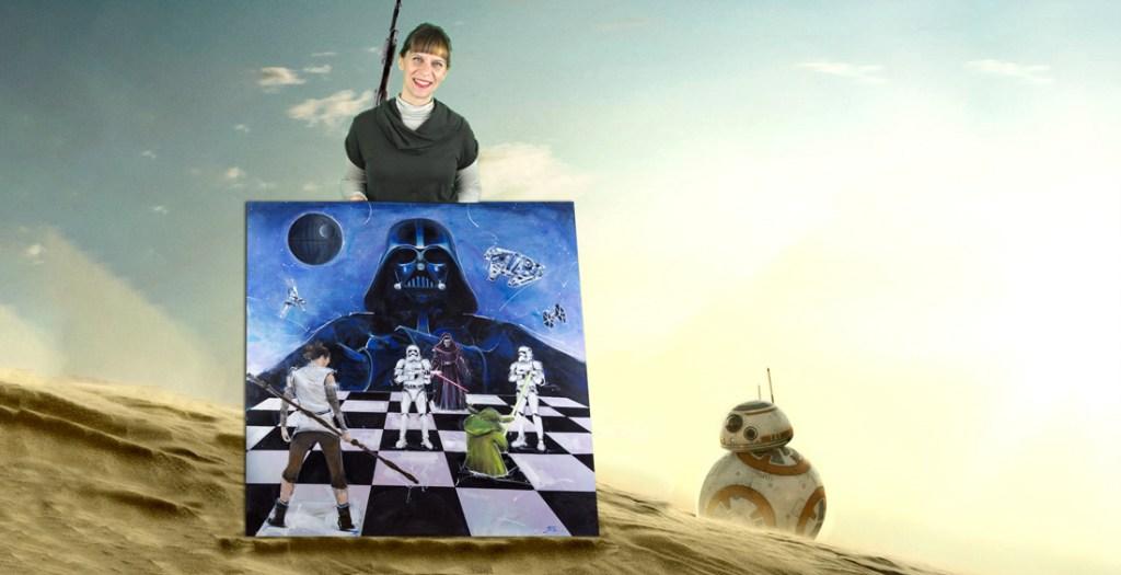 Star wars : combat entre les jedis et le côté obscur pour la liberté - Starwars inspiration - Yoda, ray face à Kyloren et Dark Vador par Lucie LLONG
