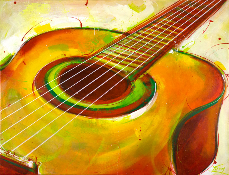 art peinture musique : le rythme envoûtant d'une guitare espagnole - instrument de musique - Lucie LLONG
