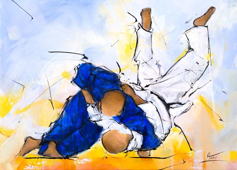 Peinture de sport | le judo | lucie LLONG, artiste peintre du mouvement