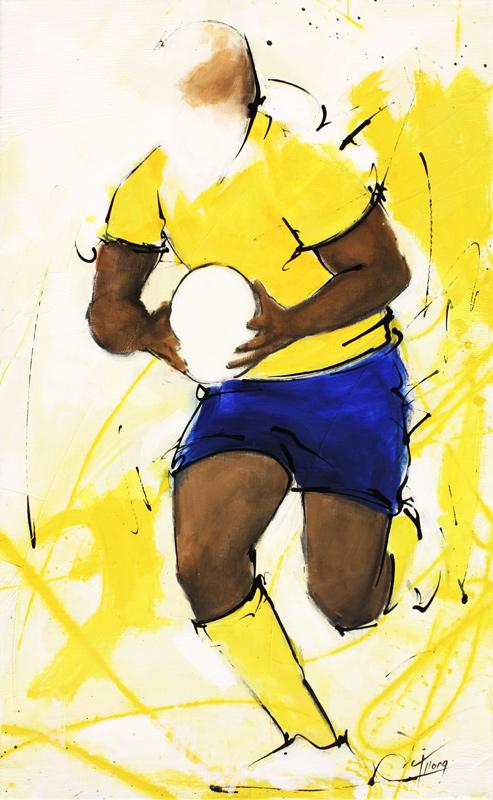 art | tableau sport | rugby ASM | Un joueur de l'ASM remonte le ballon lors d'un match au stade Marcel Michelin