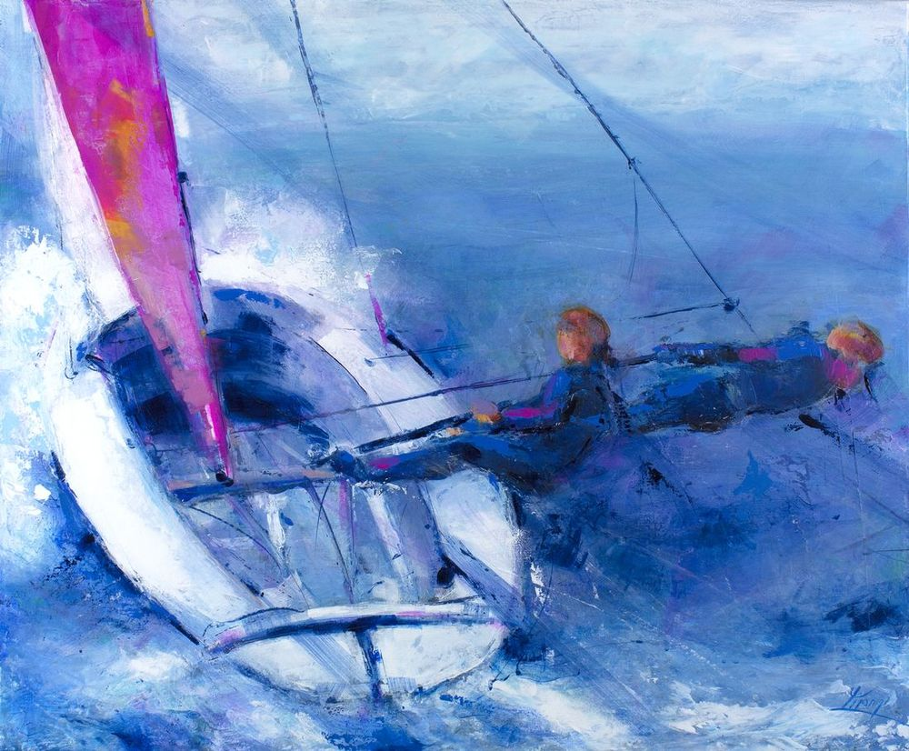 art painting sport sailing: dinghy competition on a regatta sailboat