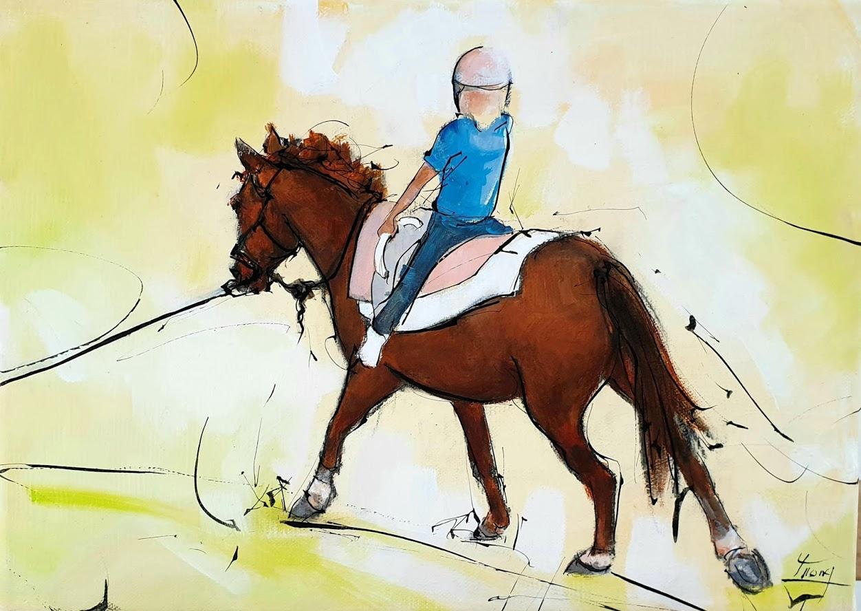 Tableau d'équitation | peinture d'un cheval de sport | Cavalier à cheval | Voltige