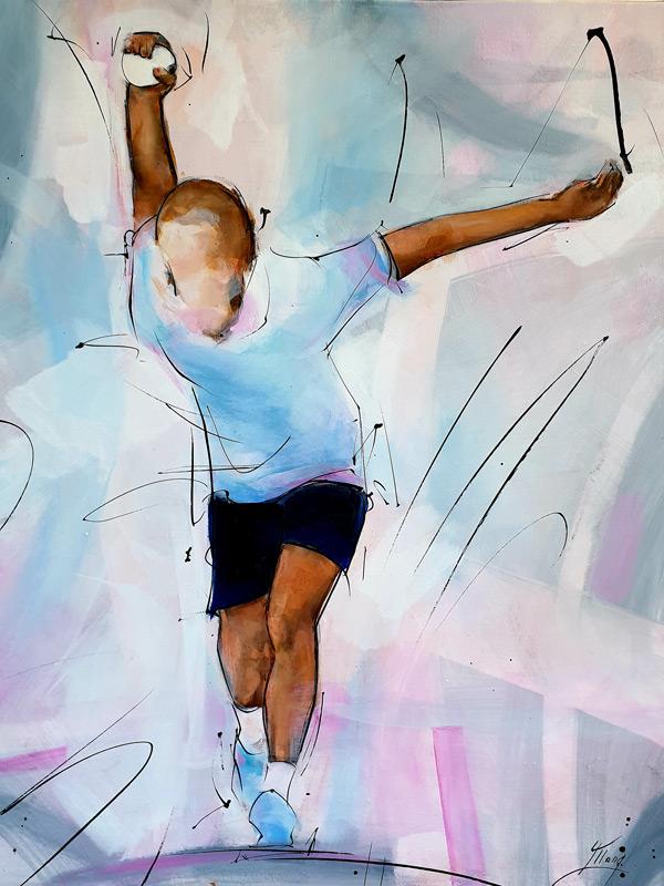 Peinture & tableau de sport | Boules lyonnaises & pétanque | joueur en action | Œuvre d'art par Lucie LLONG, Artiste peintre