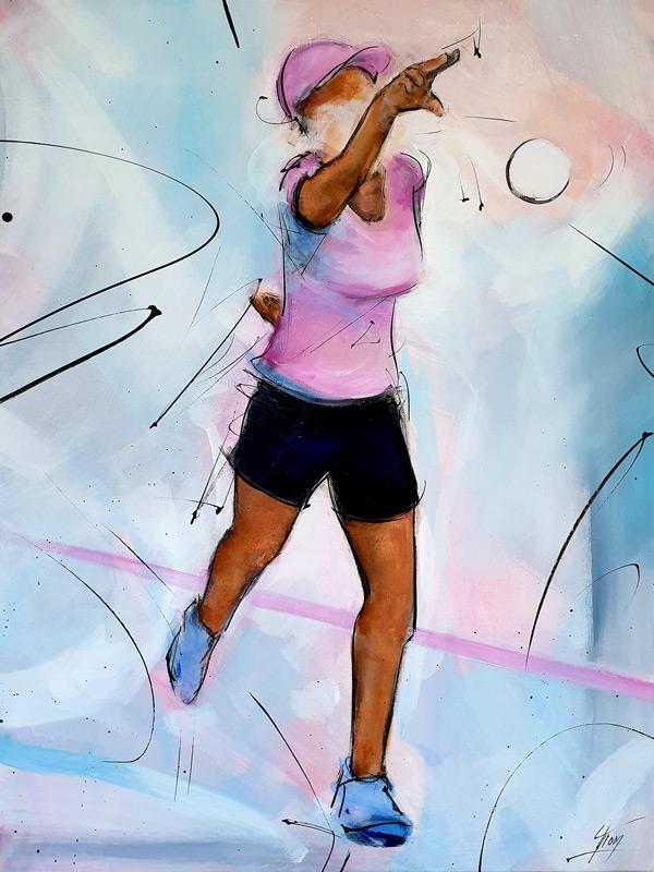 Peinture & tableau de sport   Boules lyonnaises & pétanque   joueuse en action   Œuvre d'art par Lucie LLONG, Artiste peintre du mouvement