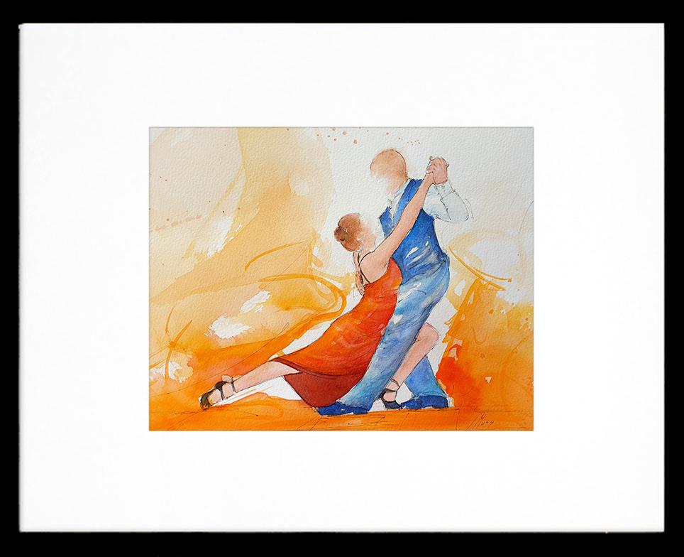 Tableau de danse latine | Tango | Peinture à l'aquarelle