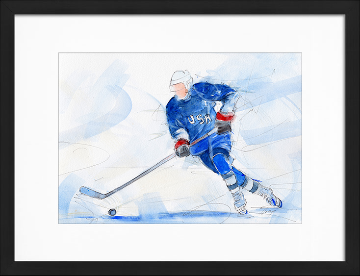 Watercolor painting | USA Ice Hockey Team | Sports painting by Lucie LLONG, artist of movement
