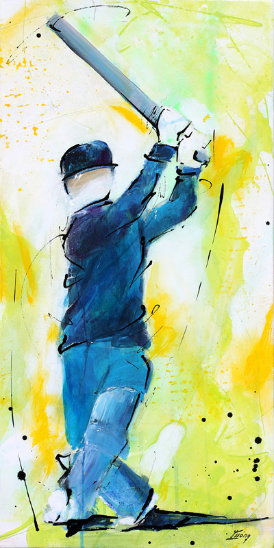 Sports painting - cricket painting - Boundary by Lucie LLONG, artist of movement