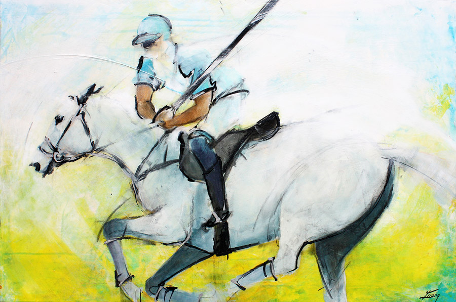 Tableau-peinture-sport-polo-cheval-lucie-llong-riding-for-the-ball
