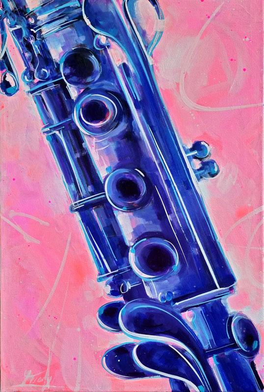 Tableau musique - Insturment de musique - Clarinette -Peinture par Lucie LLONG, artiste peintre du mouvement