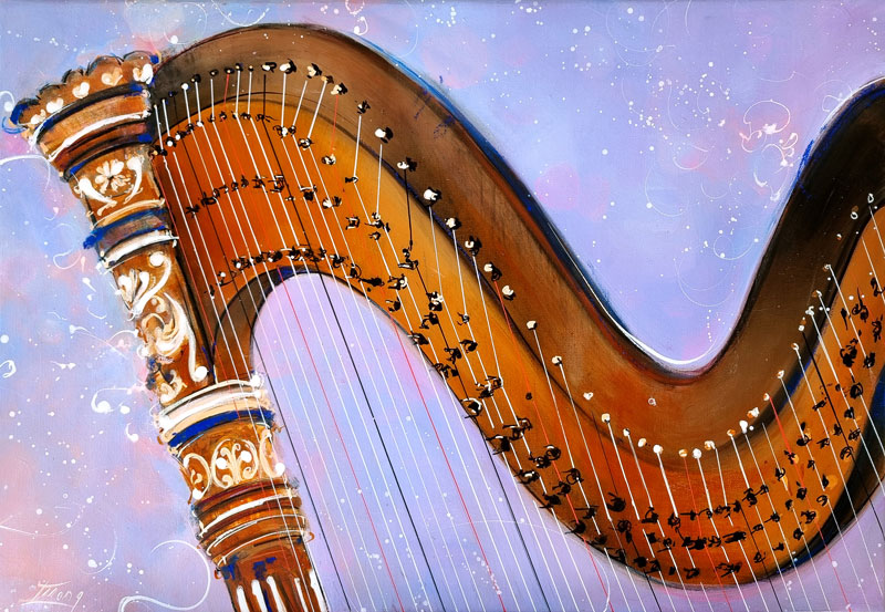 Tableau musique - Instrument de musique - Harpe ensorcelante - Peinture par Lucie LLONG, artiste peintre du mouvement