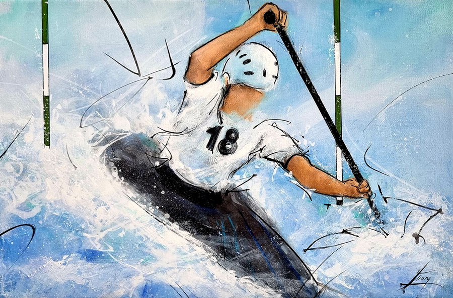 Sports painting - Kayaking - Lucie LLONG, artist of movement
