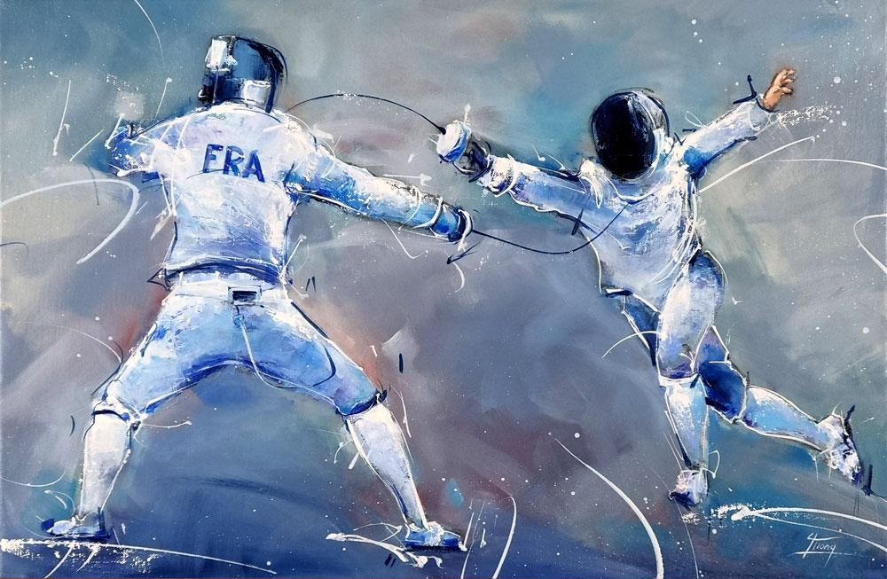 Peinture de sport - Tableau d'escrime - Combat à l'épée pour la médaille d'or au Jeux olympiques de Tokyo 2020 - Romain Cannone