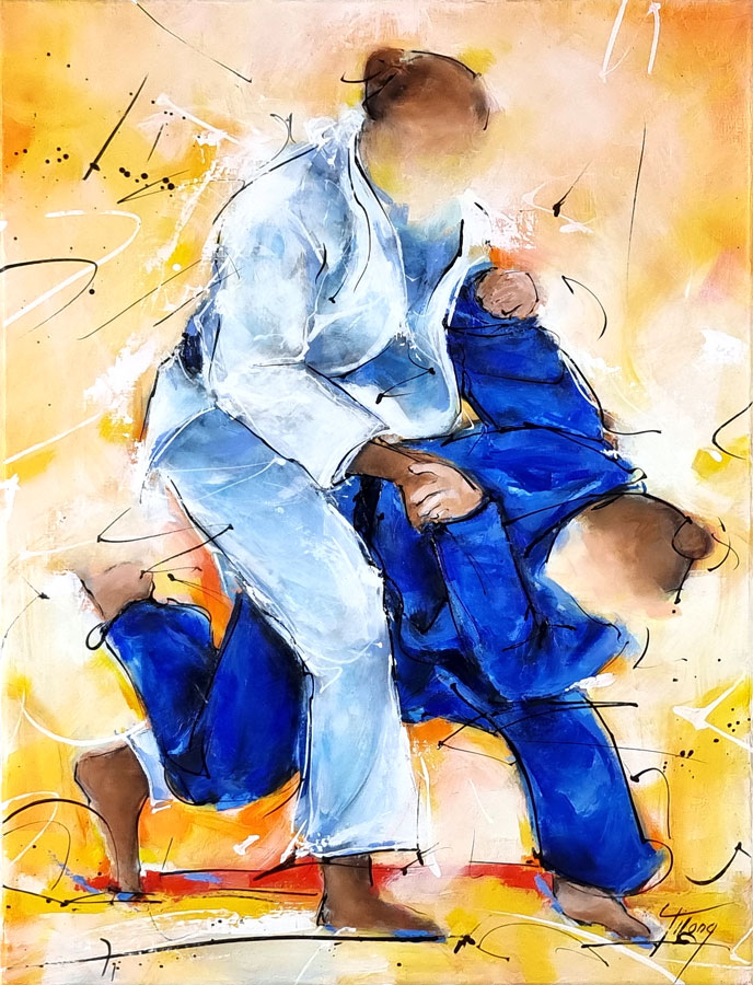 Sports painting - Judo painting - Clarisse Agbegnenou fights in Tokyo Olympic Games finale for gold medal