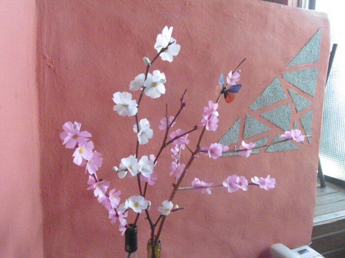 flores de cerezo de papel de seda