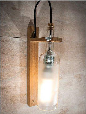lampara de botella para pared, sencilla