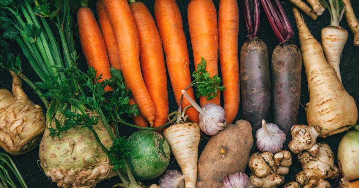 Header displaying a variety of vegetables