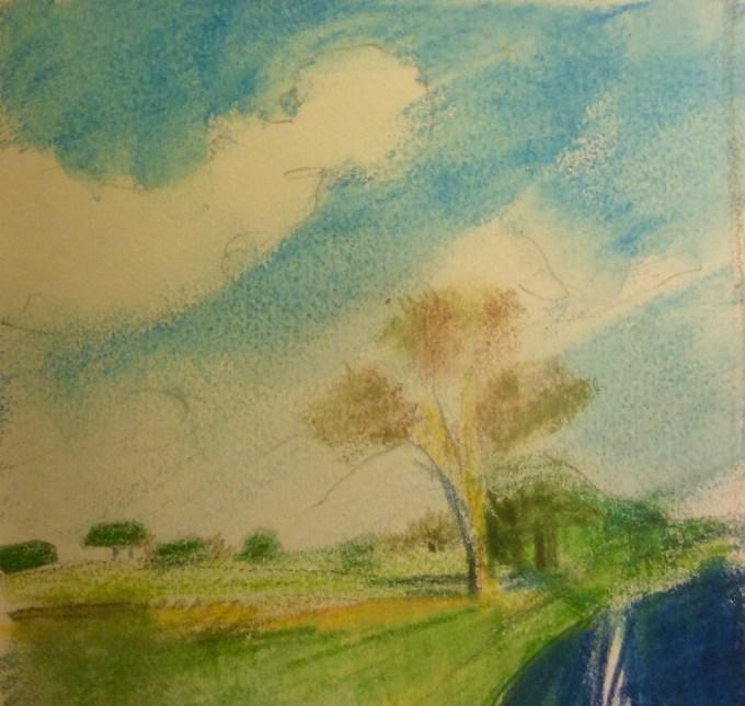 Bright January Day, Watercolour, 15 x 11 cm