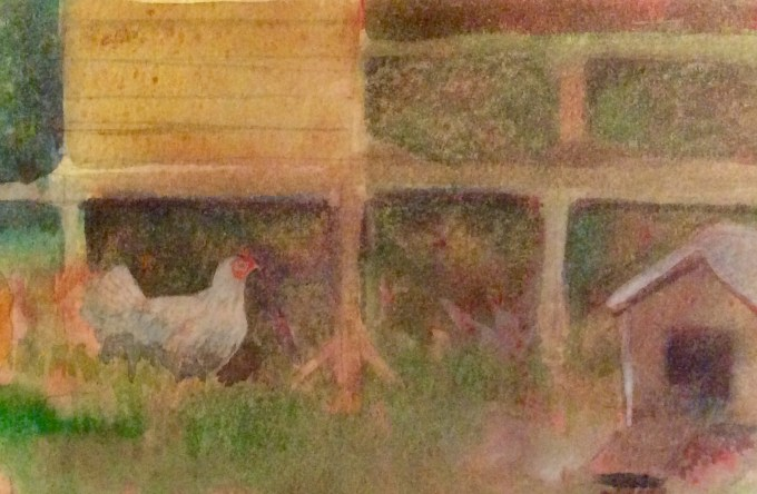 Hens at Dusk, Watercolour, 15 x 11 cm