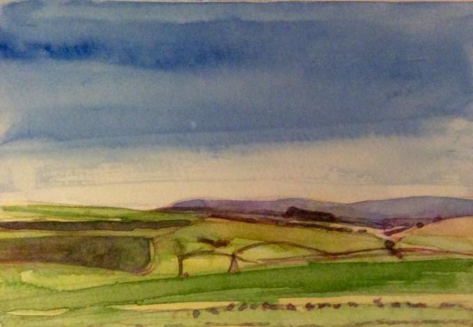 Bright Day Deverills, Watercolour, 15 x 11 cm