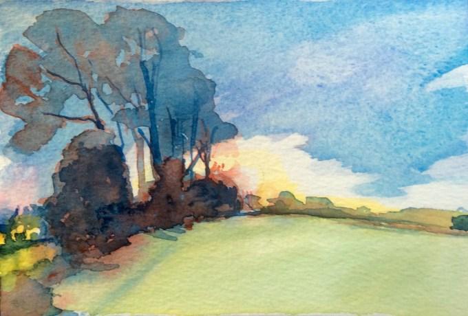Evening Walk, Watercolour, 15 x 11 cm