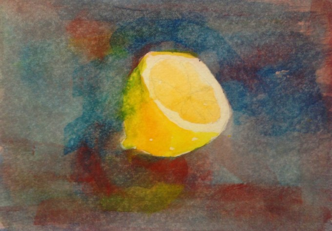 February Lemon, Watercolour 15 x 11 cm