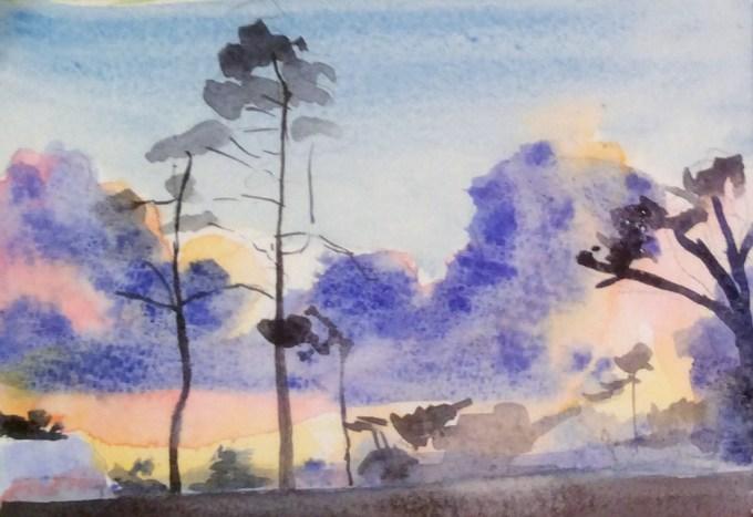 Cornish Sunset, Watercolour, 15 X11 cm