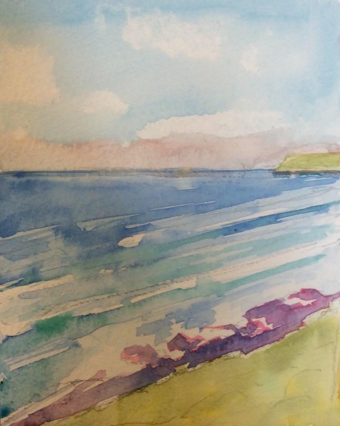 To Polzeath, Watercolour, 15x11 cm