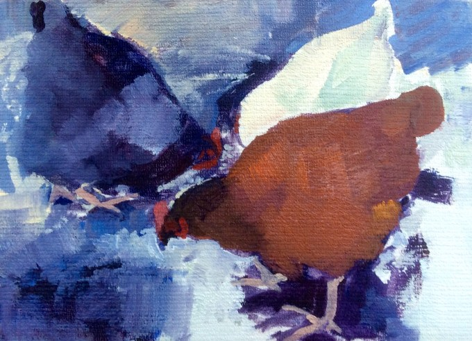 Hens in Snow, Oil on Board, 12 x 18 cm