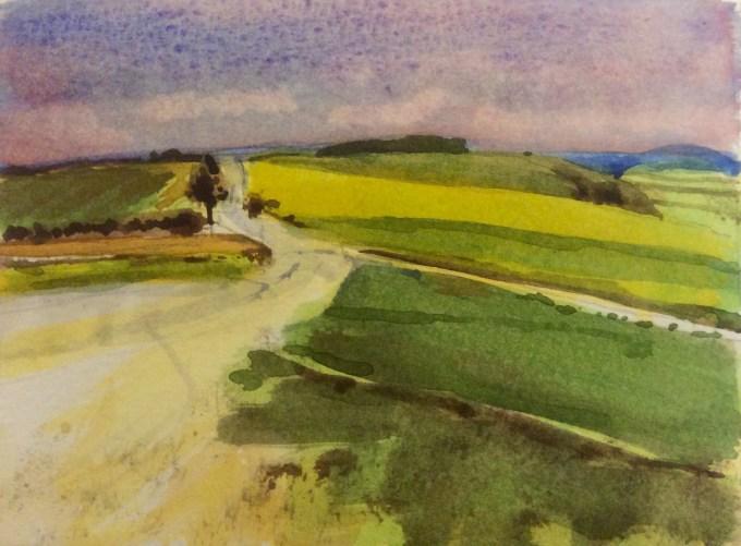 February, Win Green, Dorset, Watercolour, 15 x 11 cm