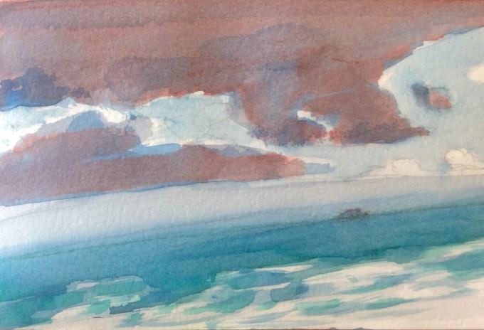 Walk to Polzeath, watercolour, 15 x 11 cm