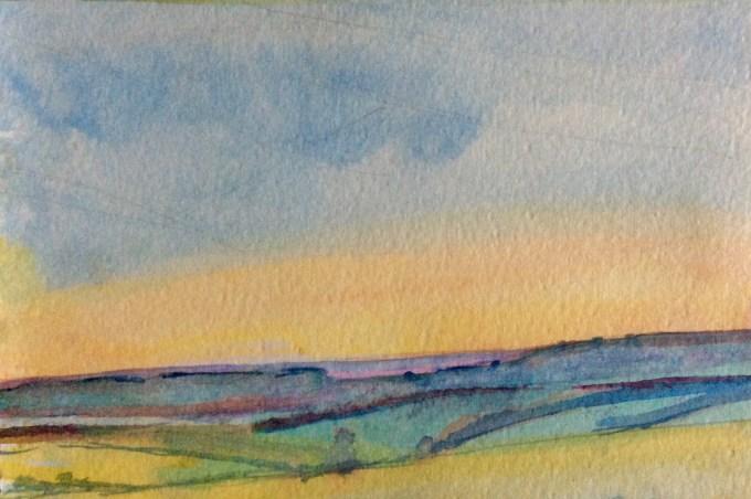 Rushmore Evening, Watercolour, 11x 15 cm